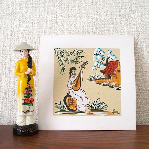 ベトナム 手描きの絵(琵琶を弾く女の子)【画像3】