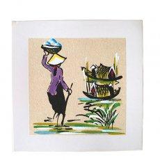アート / ART ベトナム 手描きの絵(頭上にカゴを載せる女性)