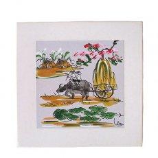 手書きイラスト ベトナム 手描きの絵(水牛に乗る)
