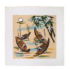 アート / ART ベトナム 手描きの絵(船)