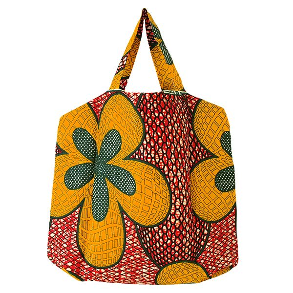 マリ 足踏みミシンで仕立てた パーニュ 巾着 エコ ショルダーバッグ(レッド 大きな花)