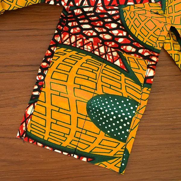 マリ 足踏みミシンで仕立てた パーニュ 巾着 エコ ショルダーバッグ(レッド 大きな花)【画像4】