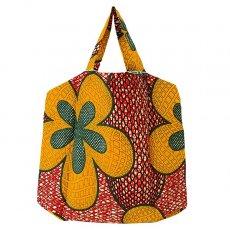 世界に繋がるお買い物 マリ 足踏みミシンで仕立てた パーニュ 巾着 エコバッグ(レッド 大きな花)