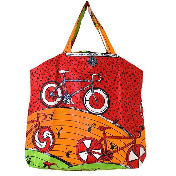 マリ 足踏みミシンで仕立てた パーニュ 巾着 エコ ショルダーバッグ(自転車 オレンジ)