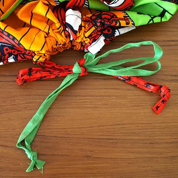 マリ 足踏みミシンで仕立てた パーニュ 巾着 エコ ショルダーバッグ(自転車 オレンジ)【画像3】