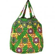 世界に繋がるお買い物 マリ 足踏みミシンで仕立てた パーニュ 巾着 エコバッグ(丸模様 グリーン)