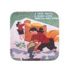 ベトナム プロパガンダ アート コースター(縁 色付き B)