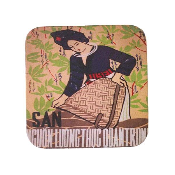 ベトナム プロパガンダ アート コースター(縁 色付き F)