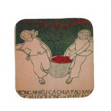 ベトナム プロパガンダ アート コースター(縁 色付き H)