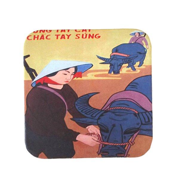 ベトナム プロパガンダ アート コースター(縁 色付き I)