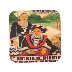 ベトナム プロパガンダ アート コースター(縁 色付き K)
