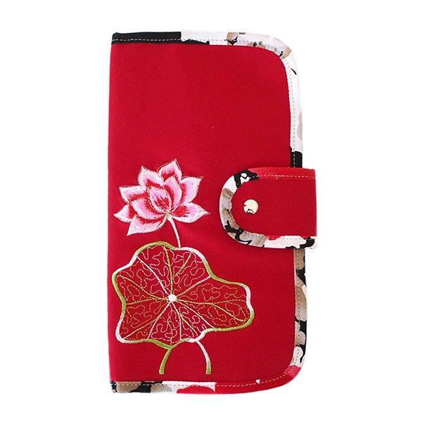 ベトナム 蓮 刺繍 ポーチ (縦長 4色)
