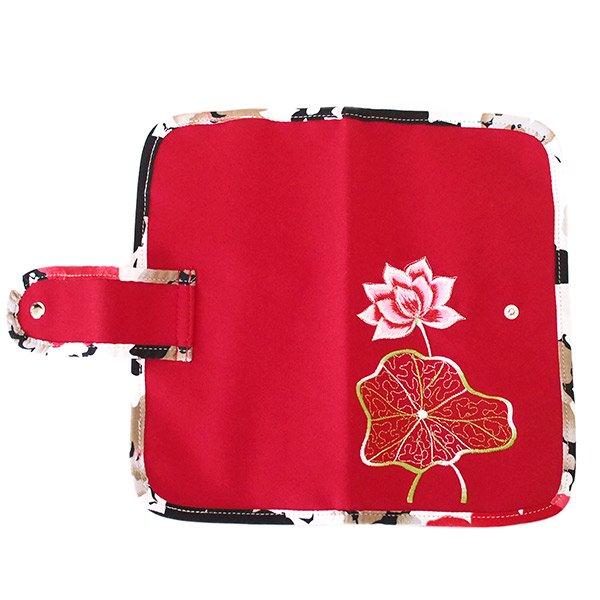 ベトナム 蓮の花(ロータス) 刺繍 パスポート&カードケース (レッド)【画像2】