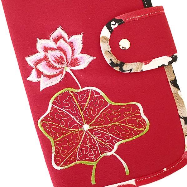 ベトナム 蓮の花(ロータス) 刺繍 パスポート&カードケース (レッド)【画像4】