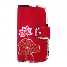ベトナム 蓮の花(ロータス) 刺繍 パスポート&カードケース (レッド)