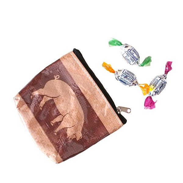 ベトナム 飼料袋 リメイク ポーチ(ブタ3色)【画像6】