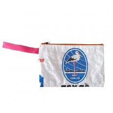 トリ (鳥) 雑貨 ベトナム 飼料袋 リメイク ポーチ(長方形 コウノトリ ホワイト A)