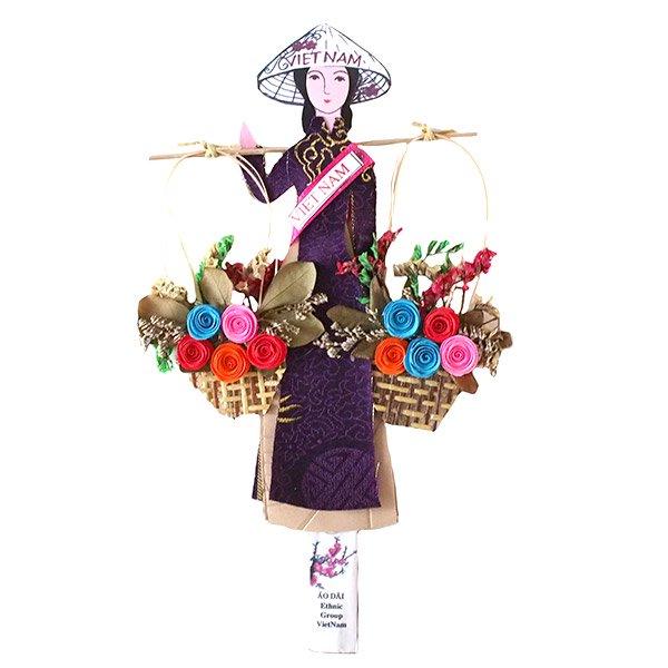 ベトナム しおり(アオザイ 天秤棒と花 1)【画像2】
