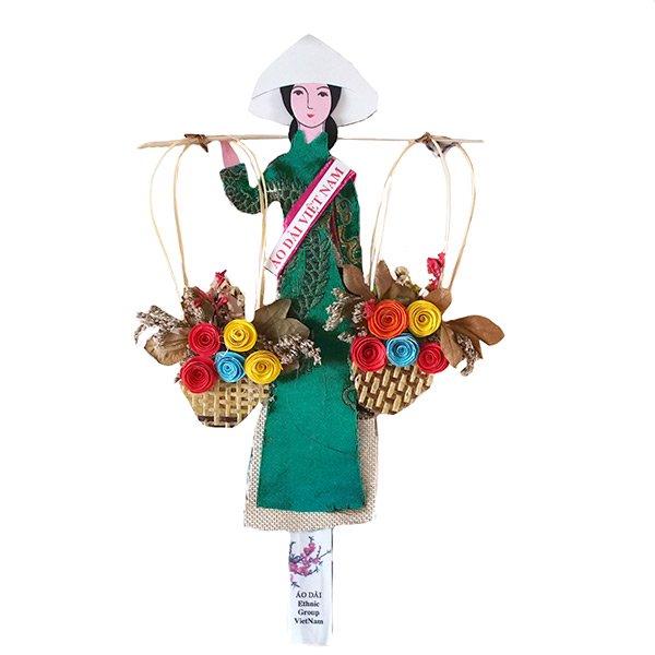 ベトナム しおり(アオザイ 天秤棒と花 1)【画像3】