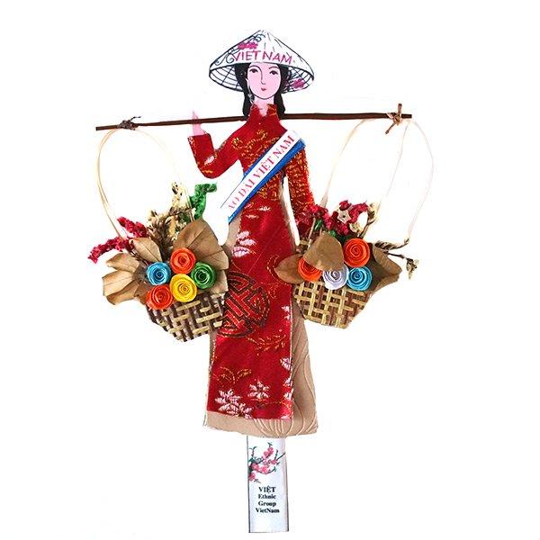 ベトナム しおり(アオザイ 天秤棒と花 1)【画像4】