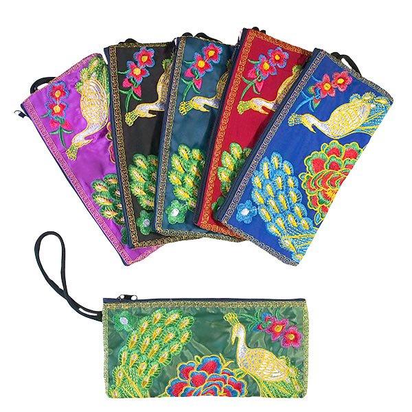 ベトナム 刺繍  花と孔雀 ポーチ( 6色)
