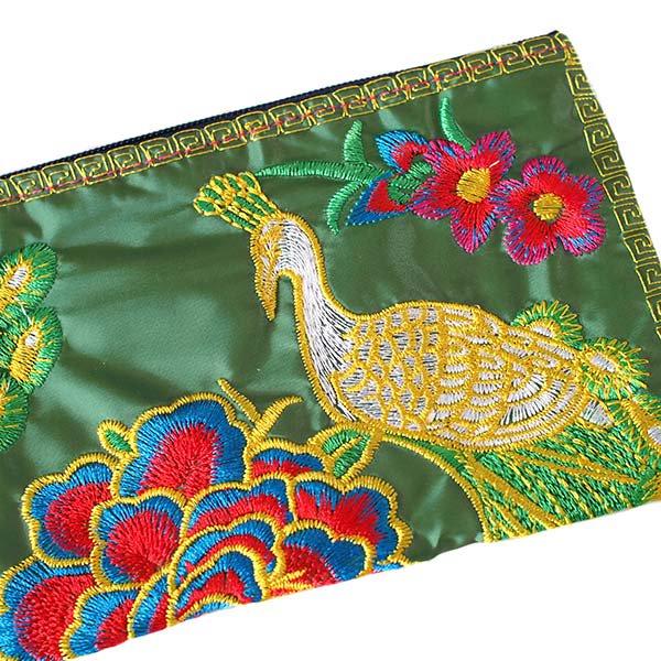 ベトナム 刺繍  花と孔雀 ポーチ( 6色)【画像2】