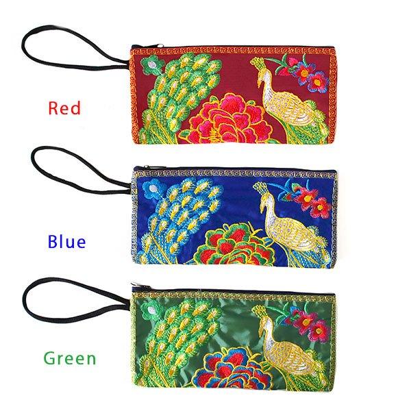 ベトナム 刺繍  花と孔雀 ポーチ( 6色)【画像5】