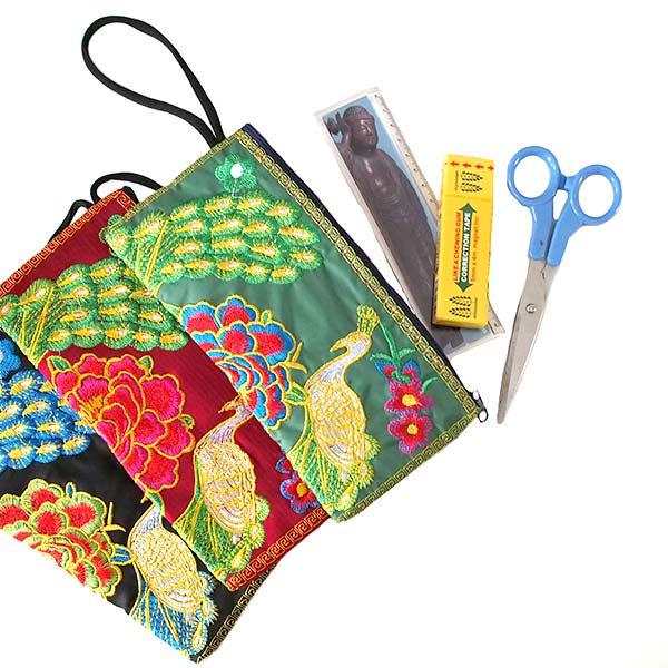 ベトナム 刺繍  花と孔雀 ポーチ( 6色)【画像8】