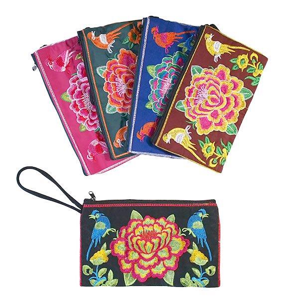 ベトナム 刺繍 ポーチ(トリと牡丹)