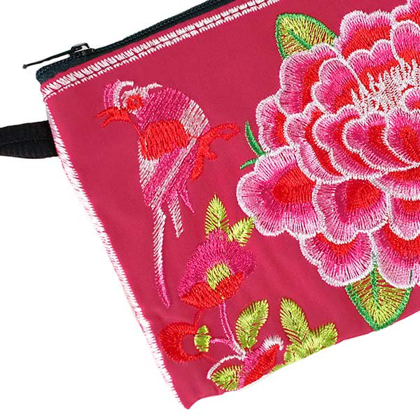ベトナム 刺繍 ポーチ(トリと牡丹)【画像2】