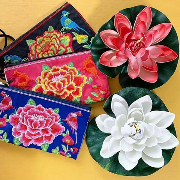 ベトナム 刺繍 ポーチ(トリと牡丹)【画像9】