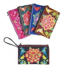 茶・ブラウン 雑貨 ベトナム 花 刺繍 ポーチ(花と鳥 5色)