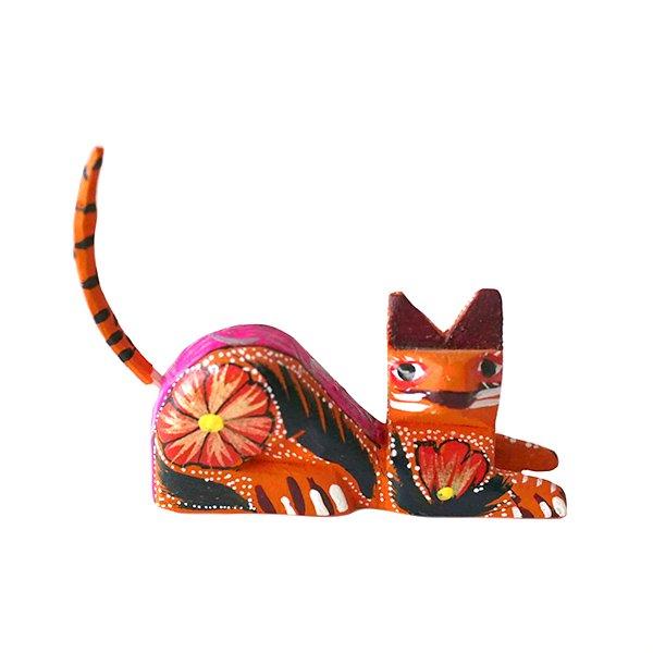 メキシコ ウッドカービング アレブリヘス(ネコ オレンジ 2)【画像3】