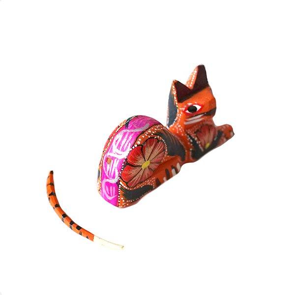 メキシコ ウッドカービング アレブリヘス(ネコ オレンジ 2)【画像6】