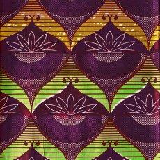 アフリカン プリント布 パーニュ 115×90 カットオフ(花 グリーン)