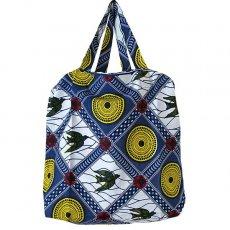 アフリカ 雑貨 マリ 足踏みミシンで仕立てた パーニュ 巾着 エコ ショルダーバッグ(ブルー ツバメ)
