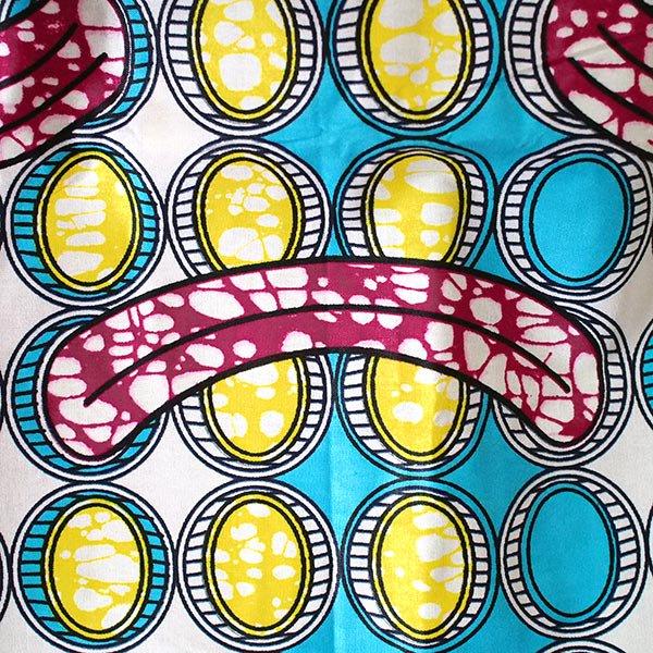 マリ 足踏みミシンで仕立てた パーニュ 巾着 エコ ショルダーバッグ(ブルー 模様)【画像2】