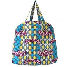 アフリカ 雑貨 マリ 足踏みミシンで仕立てた パーニュ 巾着 エコ ショルダーバッグ(ブルー 模様)