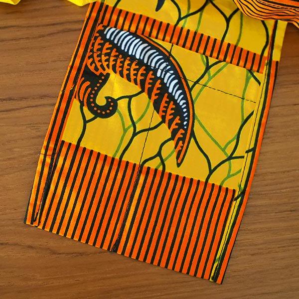 マリ 足踏みミシンで仕立てた パーニュ 巾着 エコバッグ(オレンジ 渡り鳥)【画像4】