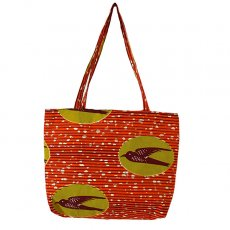 アフリカ 雑貨 マリ パーニュ  ショルダーバッグ(ツバメ オレンジ)