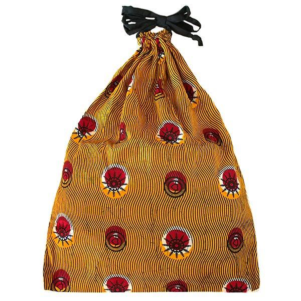 マリ パーニュの巾着(オレンジ 丸模様)