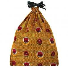 アフリカ 雑貨 マリ パーニュの巾着(オレンジ 丸模様)