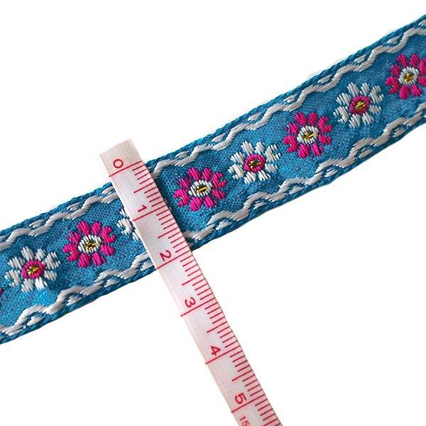 ベトナム チロリアンテープ 刺繍 ブルー(幅2cm/1m単位売り)【画像3】