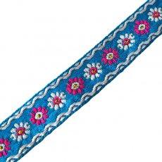 ベトナム チロリアンテープ 刺繍 ブルー(幅2cm/1m単位売り)