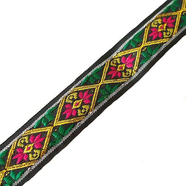 ベトナム チロリアンテープ 刺繍 ブラック(幅2cm/1m単位売り)