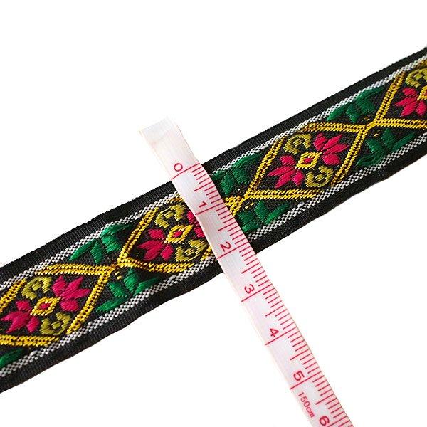 ベトナム チロリアンテープ 刺繍 ブラック(幅2cm/1m単位売り)【画像3】