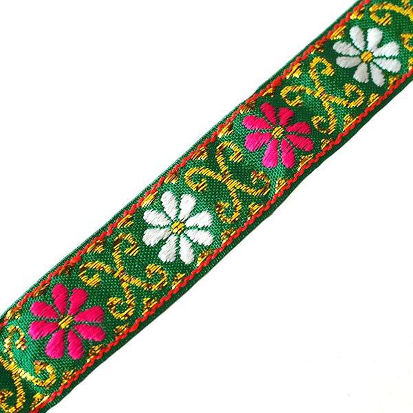 ベトナム チロリアンテープ 刺繍 グリーン(幅2cm/1m単位売り)