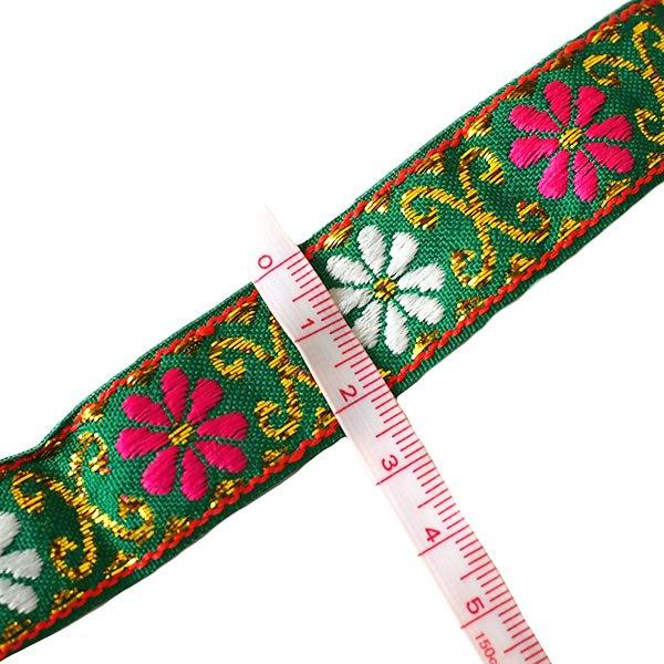 ベトナム チロリアンテープ 刺繍 グリーン(幅2cm/1m単位売り)【画像3】