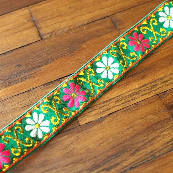 ベトナム チロリアンテープ 刺繍 グリーン(幅2cm/1m単位売り)【画像4】