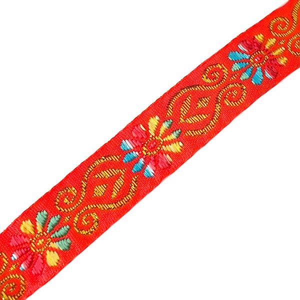 ベトナム チロリアンテープ 刺繍 オレンジ(幅2cm/1m単位売り)